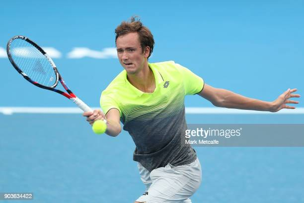 Daniil Medvedev of Russia plays a forehand in his quarter final match against Paolo Lorenzi of Italy during day five of the 2018 Sydney International...