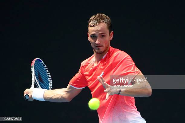 Daniil Medvedev of Russia plays a forehand in his second round match against Ryan Harrison of the United States during day four of the 2019...