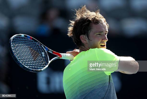 Daniil Medvedev of Russia plays a forehand in his semi final match against Fabio Fognini of Italy during day six of the 2018 Sydney International at...