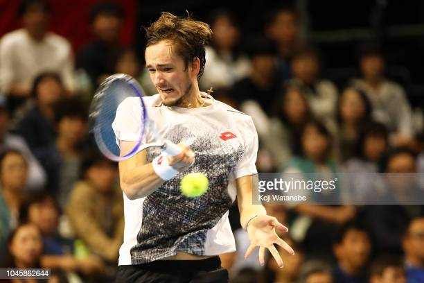 Daniil Medvedev of Russia plays a fourhand in the Singles Quarter finals round against Milos Raonic of Canada on day five of the Rakuten Open at...