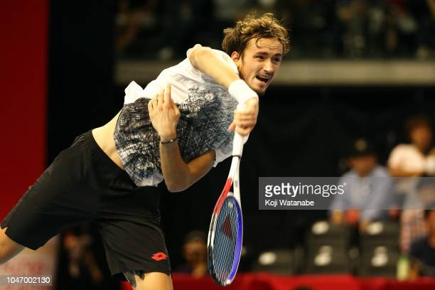 Daniil Medvedev of Russia plays a saves on in the Singles finals round against Kei Nishikori of Japan on day seven of the Rakuten Open at Musashino...