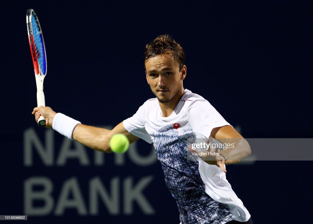 Daniil Medvedev of Russia plays a shot against Felix Auger-Aliassime of Canada during a 2nd round match on Day 3 of the Rogers Cup at Aviva Centre on August 8, 2018 in Toronto, Canada.