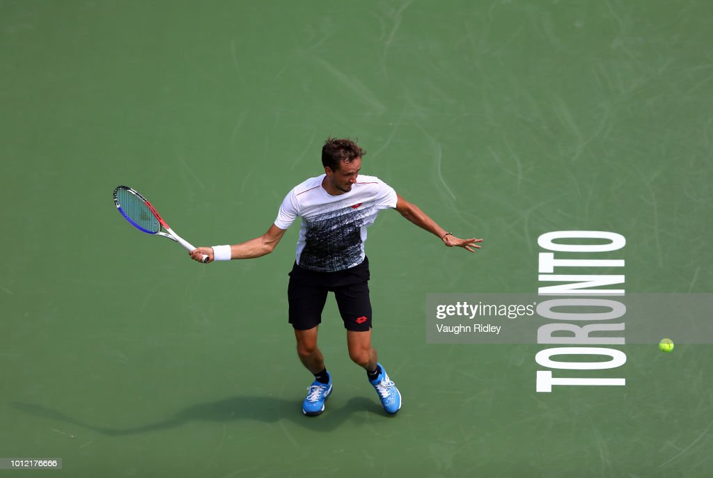 Daniil Medvedev of Russia plays a shot against Jack Sock of the United States during a 1st round match on Day 1 of the Rogers Cup at Aviva Centre on August 6, 2018 in Toronto, Canada.