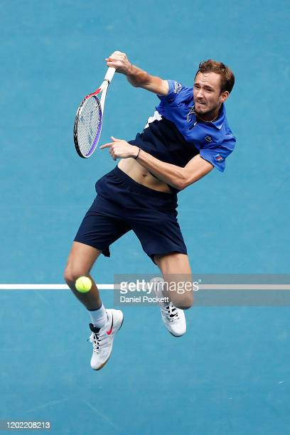 Daniil Medvedev of Russia plays an overhead shot during his Men's Singles fourth round match against Stan Wawrinka of Switzerland on day eight of the...