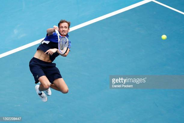 Daniil Medvedev of Russia plays an overhead shot during his Men's Singles fourth round match against Stan Wawrinka of Switzerland on day nine of the...