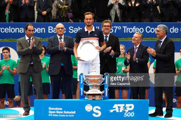 Daniil Medvedev of Russia poses with his trophy after losing against Dominic Thiem of Austria in the final match during day seven of the Barcelona...