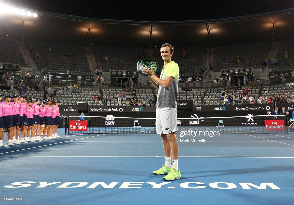 Daniil Medvedev of Russia poses with the winners trophy after his Men's Singles Final match against Alex de Minaur of Australia during day seven of the 2018 Sydney International at Sydney Olympic Park Tennis Centre on January 13, 2018 in Sydney, Australia.
