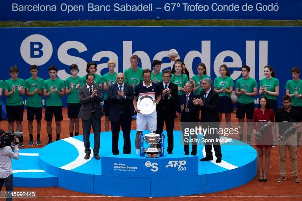 Daniil Medvedev of Russia posses with the second classified trophy on day seven of the Barcelona Open Banc Sabadell at Real Club De Tenis Barcelona...