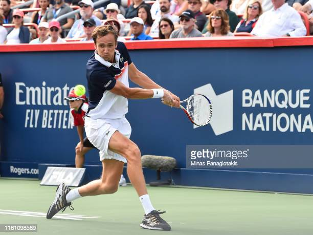 Daniil Medvedev of Russia prepares to hit a return against Rafael Nadal of Spain during the mens singles final on day 10 of the Rogers Cup at IGA...