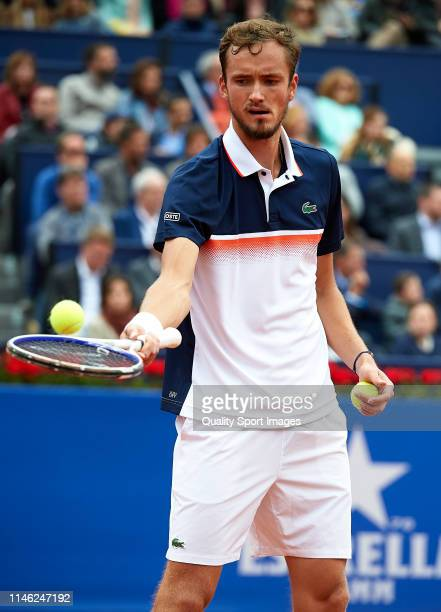 Daniil Medvedev of Russia prepares to serve during his Men's round of final match against Dominic Thiem of Austria on day seven of the Barcelona Open...