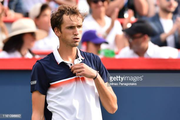 Daniil Medvedev of Russia reacts after losing a point against Rafael Nadal of Spain during the mens singles final on day 10 of the Rogers Cup at IGA...