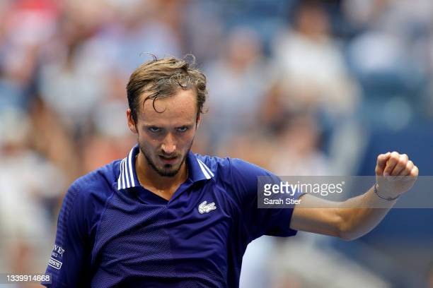 Daniil Medvedev of Russia reacts as he plays against Novak Djokovic of Serbia during their Men's Singles final match on Day Fourteen of the 2021 US...