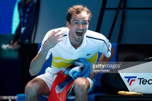 Daniil Medvedev of Russia reacts as he sits down after losing the third set in his Men's Singles third round match against Filip Krajinovic of Serbia...