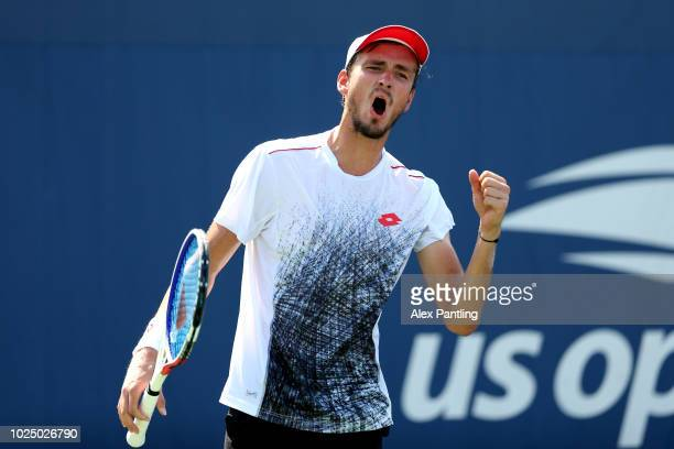 Daniil Medvedev of Russia reacts during his men's singles second round match against Stefanos Tsitsipas of Greece on Day Three of the 2018 US Open at...