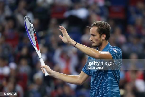 Daniil Medvedev of Russia reacts during the Men's Singles final match against Alexander Zverev of Germany on day nine of 2019 Shanghai Rolex Masters...
