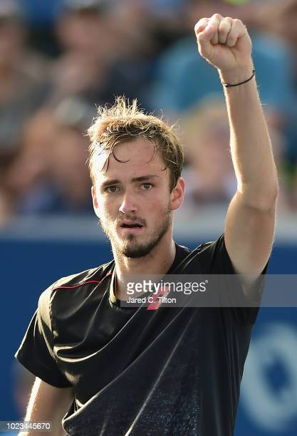 Daniil Medvedev of Russia reacts following a point against Steve Johnson during the men's singles championship final on day six of the WinstonSalem...