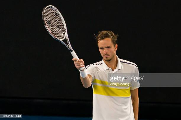 Daniil Medvedev of Russia reacts in his Men's Singles Semifinals match against Stefanos Tsitsipas of Greece during day 12 of the 2021 Australian Open...