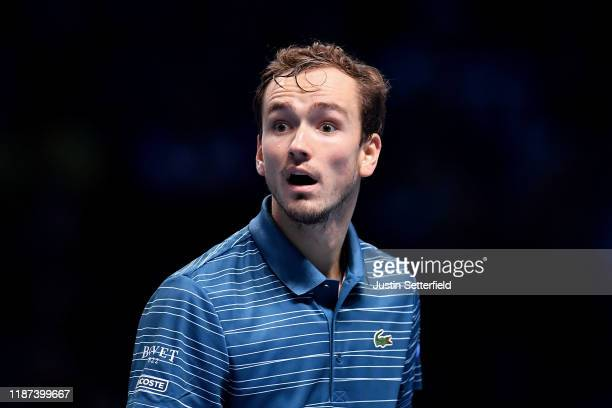 Daniil Medvedev of Russia reacts in his singles match against Rafael Nadal of Spain during Day Four of the Nitto ATP Finals at The O2 Arena on...