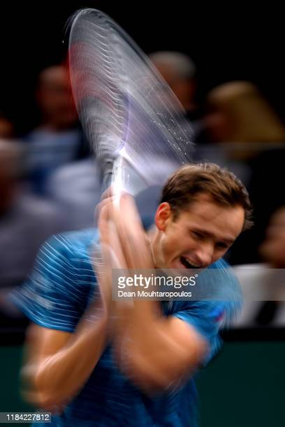 Daniil Medvedev of Russia returns a backhand in his match against Jeremy Chardy of France on day 2 of the Rolex Paris Masters, part of the ATP World...