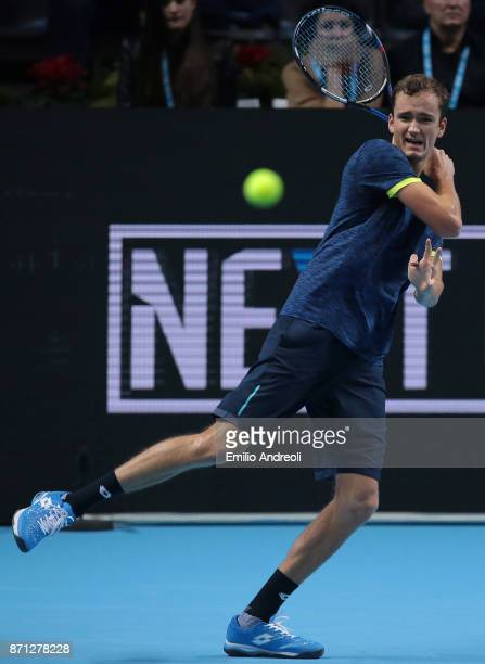 Daniil Medvedev of Russia returns a forehand in his match against Karen Khachanov of Russia during Day 1 of the Next Gen ATP Finals on November 7...