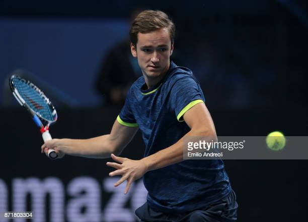 Daniil Medvedev of Russia returns a forehand in his match against Borna Coric of Croatia during Day 2 of the Next Gen ATP Finals on November 8 2017...