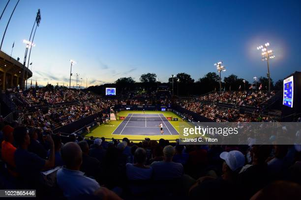 Daniil Medvedev of Russia returns a shot from Taro Daniel of Japan during their semifinals match on day five of the Winston-Salem Open at Wake Forest...
