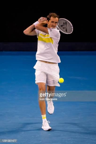 Daniil Medvedev of Russia returns the ball during the Men's Singles Final of the 2021 Australian Open on February 21 2021, at Melbourne Park in...