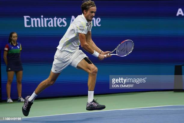 Daniil Medvedev of Russia runs for the ball during his match against Grigor Dimitrov of Bulgaria during their Singles Men's Semi-finals match at the...