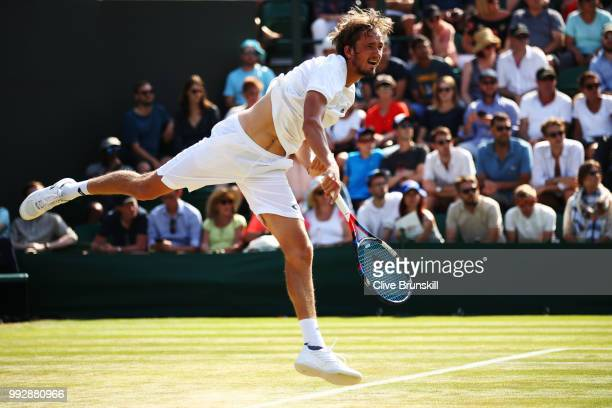 Daniil Medvedev of Russia serves against Adrian Mannarino of France during their Men's Singles third round match on day five of the Wimbledon Lawn...