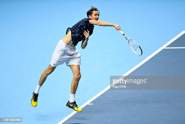 Daniil Medvedev of Russia serves against Dominic Thiem of Austria during Day 8 of the Nitto ATP World Tour Finals at The O2 Arena on November 22,...