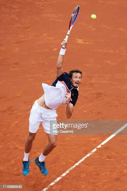 Daniil Medvedev of Russia serves against Dominic Thiem of Austria during the final match during day seven of the Barcelona Open Banc Sabadell at Real...