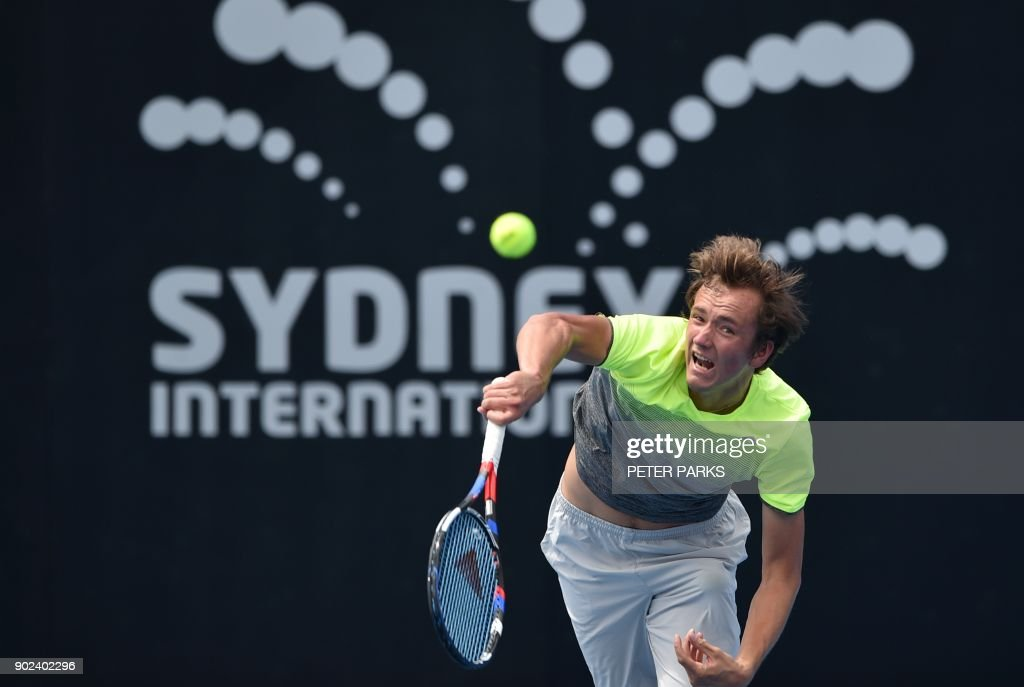 Daniil Medvedev of Russia serves against Philipp Kohlschreiber of Germany in their men's singles first round match at the Sydney International tennis tournament in Sydney on January 8, 2018. /