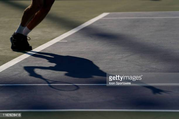 Daniil Medvedev of Russia serves during the final match of the Western & Southern Open at Lindner Family Tennis Center on August 18, 2019 in Mason,...