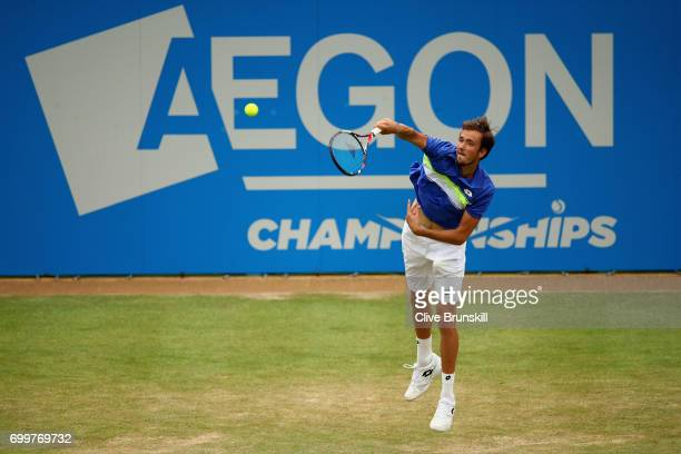 Daniil Medvedev of Russia serves during the mens singles second round match against Thanasi Kokkinakis of Australia on day four of the 2017 Aegon...