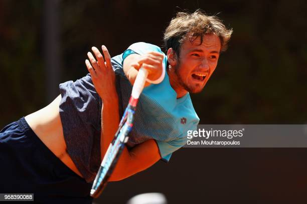 Daniil Medvedev of Russia serves in his match against Robin Haase of the Netherlands during day two of the Internazionali BNL d'Italia 2018 tennis at...