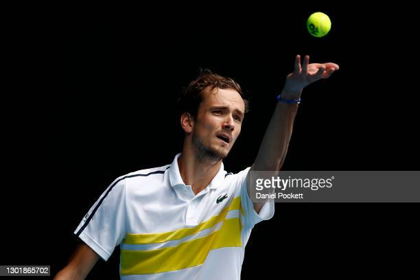 Daniil Medvedev of Russia serves in his Men's Singles third round match against Filip Krajinovic of Serbia during day six of the 2021 Australian Open...