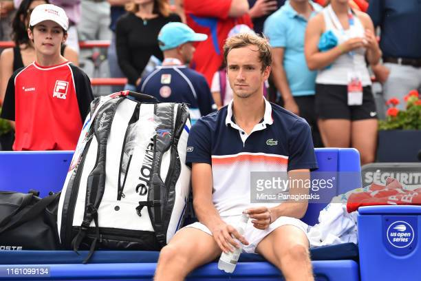 Daniil Medvedev of Russia sits as he looks on after his loss to Rafael Nadal of Spain during the mens singles final on day 10 of the Rogers Cup at...