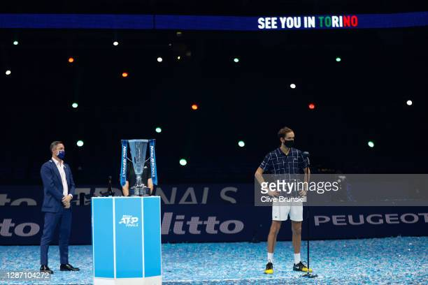 Daniil Medvedev of Russia speaks after winning his singles final match against Dominic Thiem of Austria during day eight of the Nitto ATP World Tour...