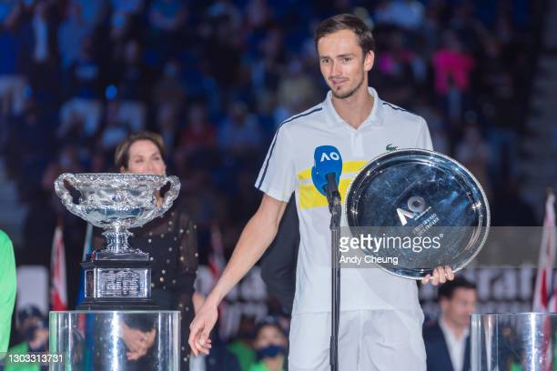 Daniil Medvedev of Russia speaks at the trophy presentation ceremony while holding the runners up plate in his Men's Singles Final match against...