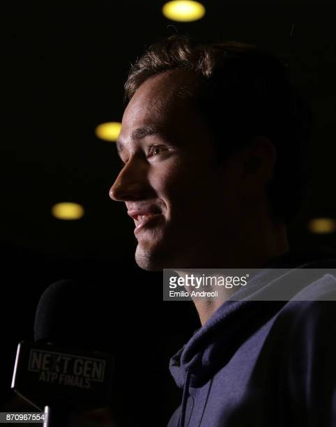 Daniil Medvedev of Russia speaks to the media during the Next Gen ATP Finals Media Day on November 6 2017 in Milan Italy