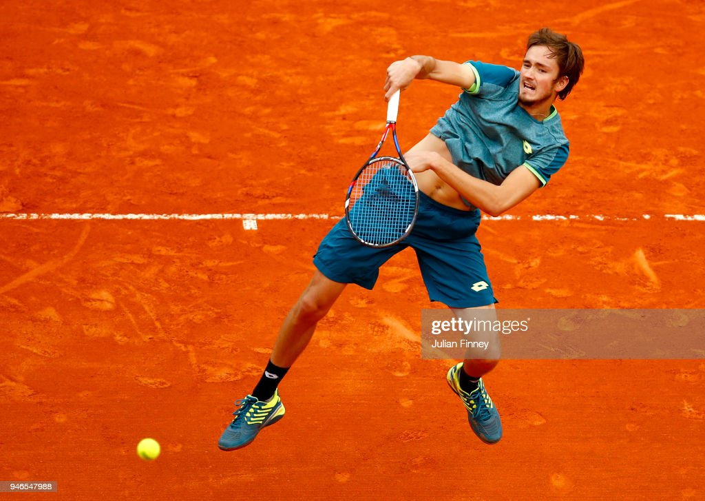 Daniil Medvedev of Russia volleys during the Men's single Round of 64 match between Marton Fucsovics and Daniil Medvedev on Day One of ATP Masters Series: Monte Carlo Rolex Master at Monte-Carlo Sporting Club on April 15, 2018 in Monte-Carlo, Monaco.