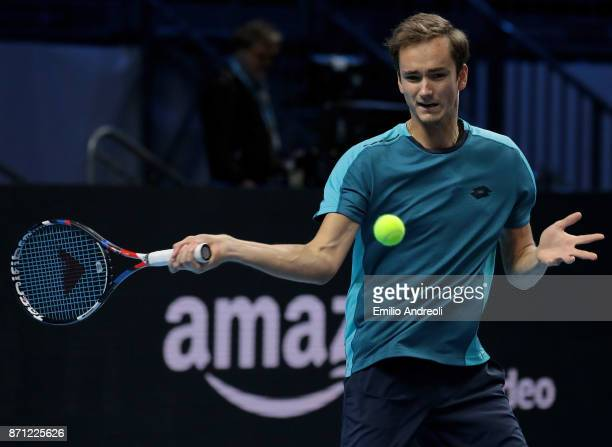 Daniil Medvedev of Russia warms up prior to his match against Karen Khachanov of Russia during Day 1 of the Next Gen ATP Finals on November 7 2017 in...