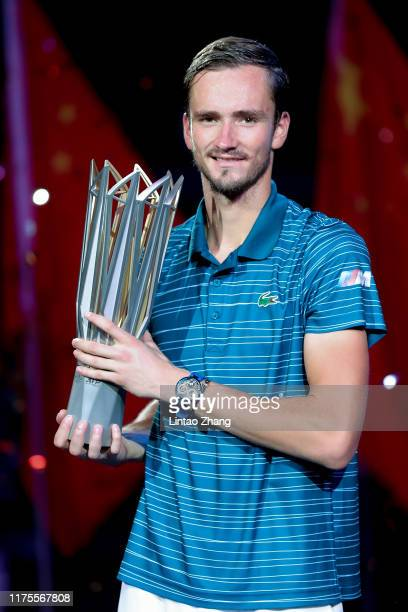Daniil Medvedev of Russia with the trophy during the Award Ceremony after winning the Men's Singles final match against Alexander Zverev of Germany...