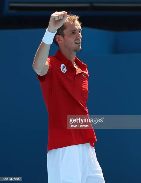 Daniil Medvedev of Team ROC celebrates after match point during his Men's Singles Third Round match against Fabio Fognini of Team Italy on day five...