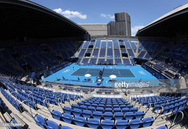 Daniil Medvedev of Team ROC plays Alexander Bublik of Team Kazakhstan in their Men's Singles First Round match in an empty Centre Court on day one of...