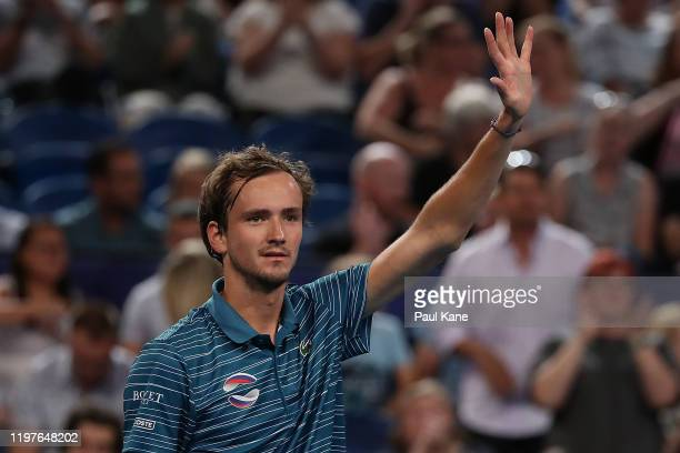 Daniil Medvedev of Team Russia celebrates after winning his singles match against John Isner of Team USA during day three of the 2020 ATP Cup Group...