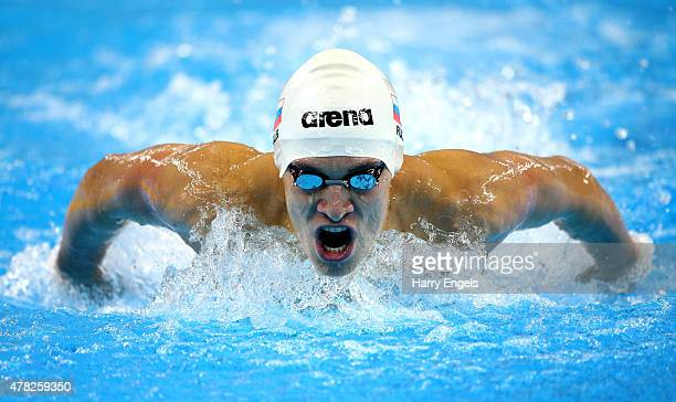 Daniil Pakhomov of Russia competes in the Men's 200m Butterfly semi final during day twelve of the Baku 2015 European Games at the Baku Aquatics...