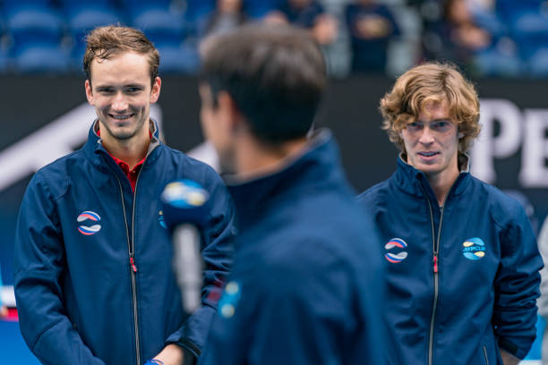 DaniilMedvedev of Russia and Andrey Rublev of Russia react at the trophy presentation ceremony following the ATP Cup Final during day six of the...