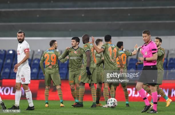 Danijel Aleksic of Medipol Basaksehir celebrates with his teammates after scoring a goal during the Ziraat Turkish Cup soccer match between Medipol...