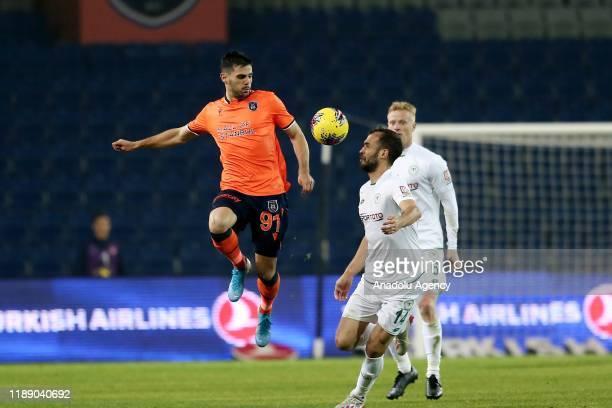 Danijel Aleksic of Medipol Basaksehir in action against Marin Anicic of Ittifak Holding Konyaspor during Turkish Super Lig soccer match between...